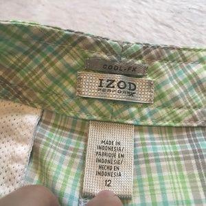 Izod Shorts - Izod Cool-FX PerformX Green Plaid Golf Shorts
